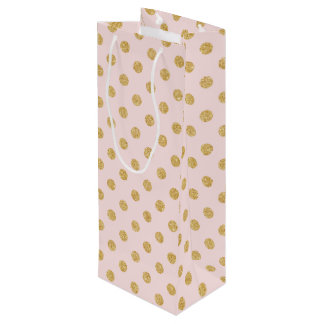 Elegant Pink And Gold Glitter Polka Dots Pattern Wine Gift Bag