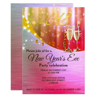 Elegant Pink and  Gold New Year`s Eve Invite