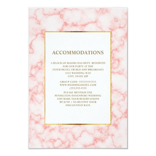 Elegant Pink and Grey Marble Accommodations Card