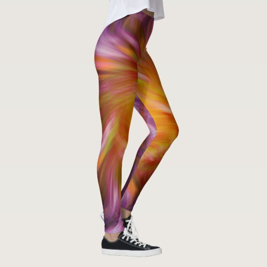 Elegant Pink and orange blast wind Leggings