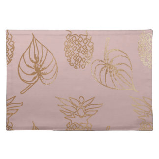 elegant pink and rose gold illustration pattern placemat
