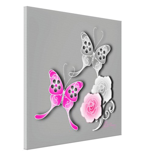 Elegant Pink And Silver Butterflies And Roses Stretched Canvas Print