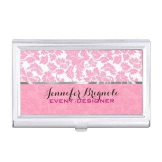 Elegant Pink And White Floral Damasks Pattern 2 Business Card Holder