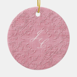 Elegant Pink and White Monogram Christmas Ornament
