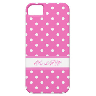 Elegant pink and white polka dots iPhone 5 case