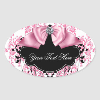 Elegant Pink Black Damask Stickers