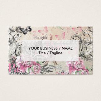 Elegant pink black floral collage Eiffel Tower Business Card