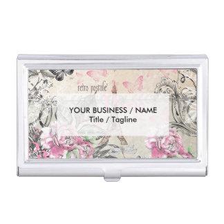 Elegant pink black floral collage Eiffel Tower Business Card Holder