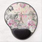Elegant pink black floral collage Eiffel Tower Gel Mouse Pad
