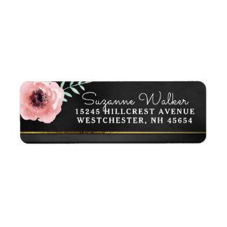 Elegant Pink & Black Floral with Gold Address Return Address Label