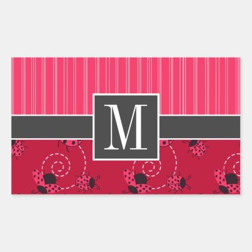Elegant Pink & Black Ladybug Sticker