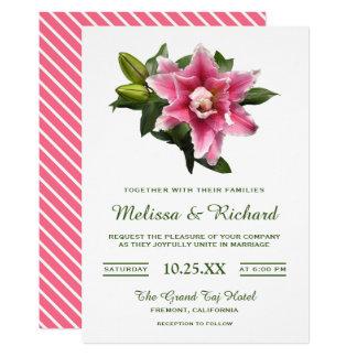 Elegant Pink Blooming Lily Wedding Invitation