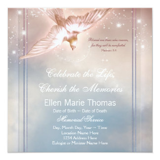 "Elegant Pink Blue Dove In Loving Memory Memorial 5.25"" Square Invitation Card"