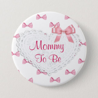 Elegant Pink Bows Mommy to be Baby Shower button