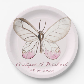 Elegant Pink Butterfly Personalized Wedding Paper Plate