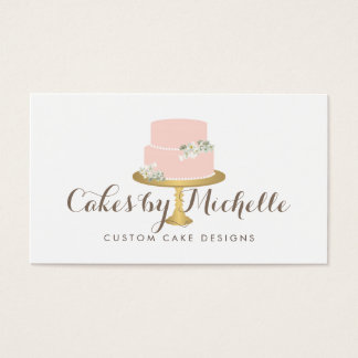 Wedding decor business cards business card printing zazzle ca elegant pink cake with florals cake decorating business card junglespirit Gallery