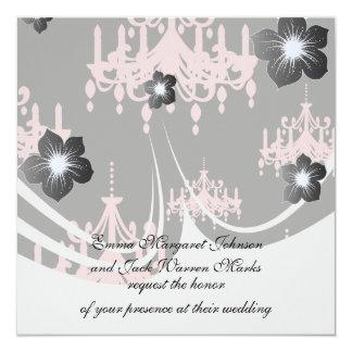 """elegant pink chandelier damask on black 5.25"""" square invitation card"""