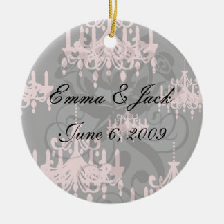 elegant pink chandelier damask on black ceramic ornament