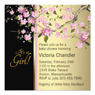 Elegant Pink Cherry Blossom Baby Shower Card