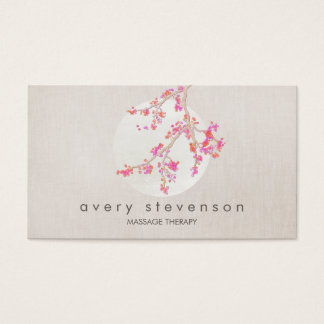 Elegant Pink Cherry Blossom Floral Linen Look Business Card