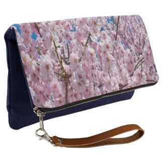 elegant pink cherry blossom tree photograph clutch