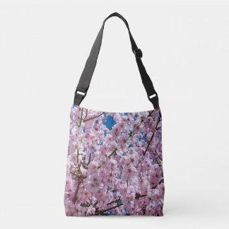 elegant pink cherry blossom tree photograph crossbody bag