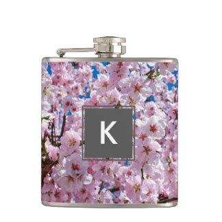 elegant pink cherry blossom tree photograph hip flask