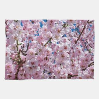 elegant pink cherry blossom tree photograph kitchen towel