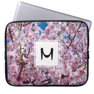 elegant pink cherry blossom tree photograph laptop sleeve