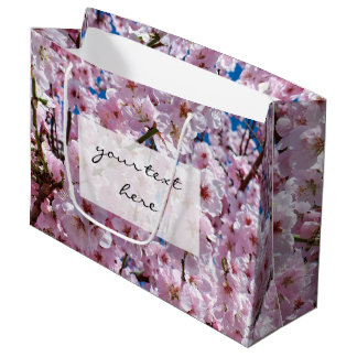 elegant pink cherry blossom tree photograph large gift bag