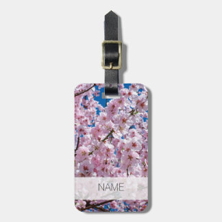 elegant pink cherry blossom tree photograph luggage tag