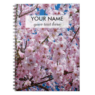 elegant pink cherry blossom tree photograph notebook