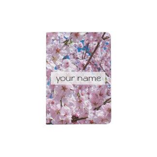elegant pink cherry blossom tree photograph passport holder