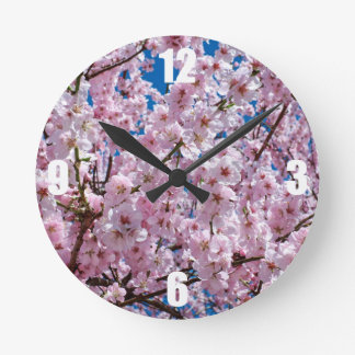 elegant pink cherry blossom tree photograph round clock