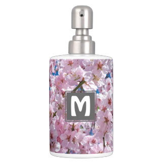 elegant pink cherry blossom tree photograph soap dispenser and toothbrush holder