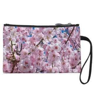 elegant pink cherry blossom tree photograph wristlet