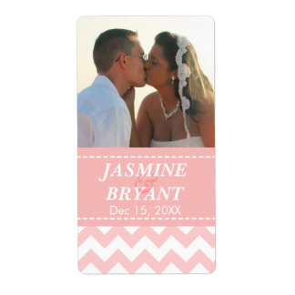 Elegant Pink Chevron Pattern Wedding Shipping Label