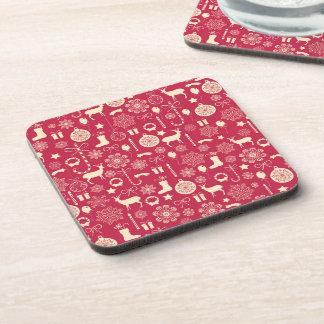 Elegant Pink Christmas Pattern | Coaster