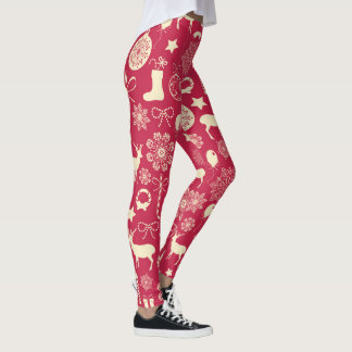 Elegant Pink Christmas Pattern | Leggings