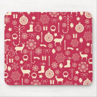 Elegant Pink Christmas Pattern | Mousepad