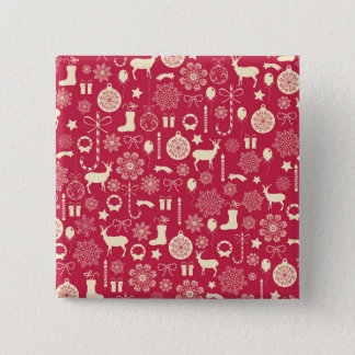 Elegant Pink Christmas Pattern Pin Button