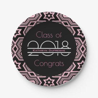Elegant, Pink & Cool Graduation Paper Plate