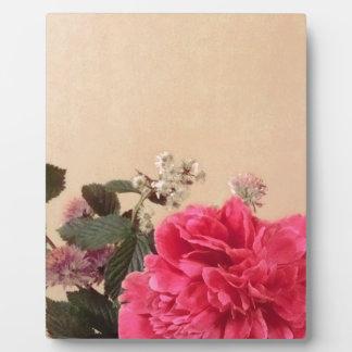 Elegant Pink Cream Floral Plaque