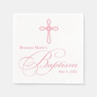 Elegant Pink Cross Baptism Personalized Napkin Disposable Napkin