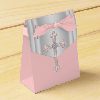 Elegant Pink Cross First Communion Favor Box