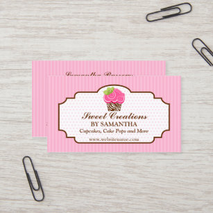 Cake and home baking business cards business card printing zazzle ca elegant pink cupcake bakery business card reheart Choice Image