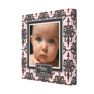 Elegant Pink Damask Baby Photo Birth Decor Canvas Print