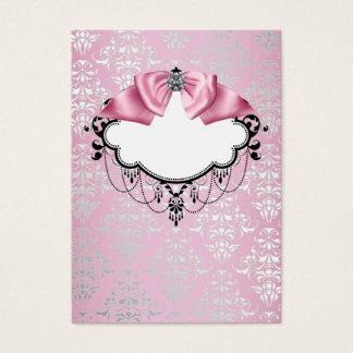 Elegant Pink Damask Business Card Template