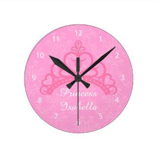Elegant Pink Damask, Princess Tiara, For Girls Round Clock