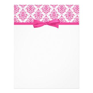 Elegant Pink Damask Ribbon Bow Letterhead